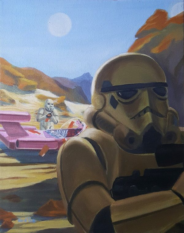 Stormtroopers on Tatooine writing traffick tickets star wars sci fi oil painting